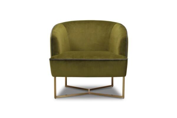 М'яке крісло з металевими ніжками під золото. Модель 120 fk-1p