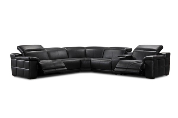 Мягкий уголок в натуральной коже черного цвета. Модель 31850emhm. Супермаркет диванов Relax Studio