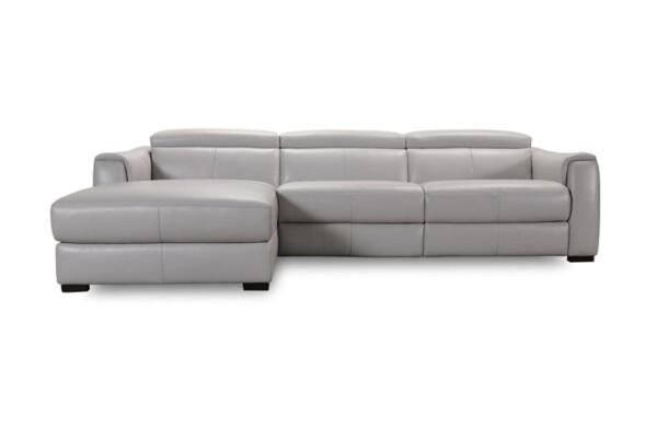 Шкіряний сучасний кутовий диван з електричним реклайнером купити в Києві | Супермаркет диванів Relax Studio