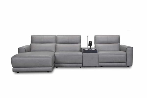 Кутовий диван з консоллю і реклайнером. Модель 33070ej. Київ. Супермаркет диванів Релакс Студіо