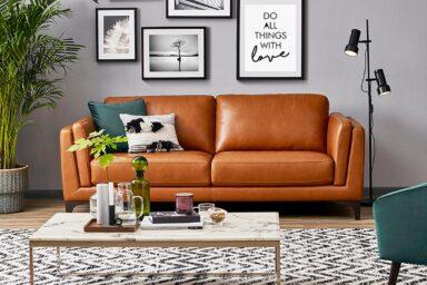 Стильный диван из натуральной кожи. Модель Диван HTL-11746-2.5S Супермаркет диванов Релакс Студио