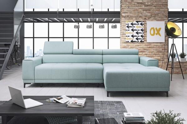 Кутовий диван Hugo mini - компактний, сучасний диван з розкладкою для сну та підголівниками, що регулюються | Релакс Студіо. Польські м'які меблі від імпортера