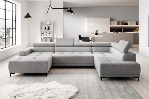 Кутовий диван для просторої вітальні з електричною розкладкою. Модель Hugo-XL. Супермаркет диванів Релакс Студіо