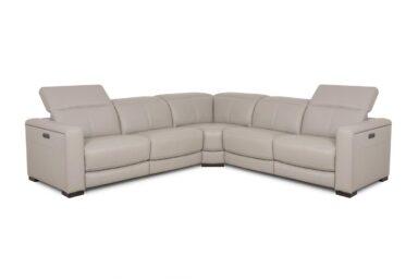 Бежевий шкіряний кутовий диван. Модель RS-11449-1-PR. Супермаркет диванів Relax Studio