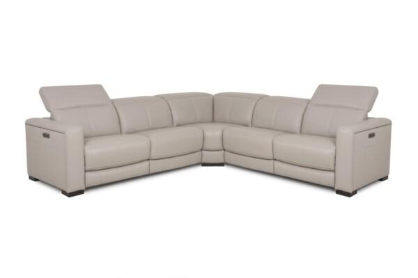 Бежевый кожаный угловой диван. Модель RS-11449-1-PR. Супермаркет диванов Relax Studio