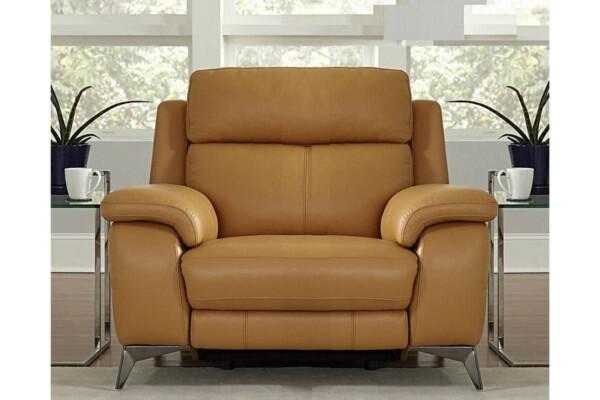 Кожаное кресло на стильных хромированных ножках. Модель RS-11486-PR. Супермаркет диванов Релакс Студио