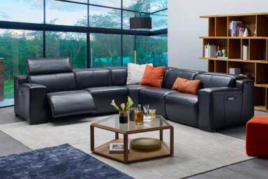 Угловой кожаный диван купить Киев. Модель RS-11501. Супермаркет диванов Релакс Студио