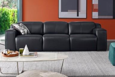 Прямой диван в натуральной коже купить в Киеве. Модель Диван RS-11501-PR-3set Супермаркет диванов Релакс Студио