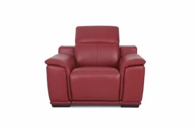 М'яке крісло з електричним реклайнером b5054. Оббивка натуральна шкіра червоного кольору.